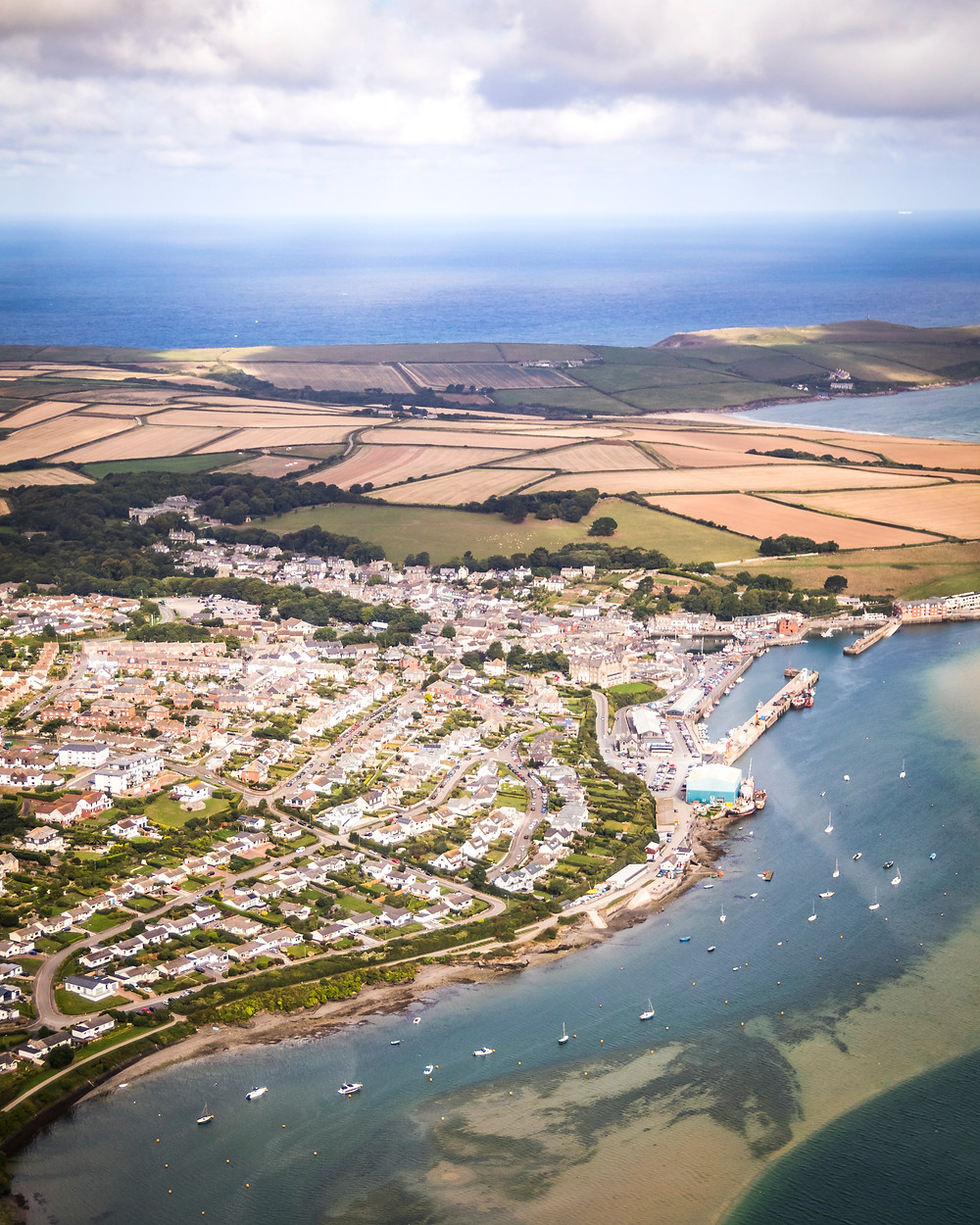Aerial View Of Padstow and The Camel Estuary, Cornwall From The Air