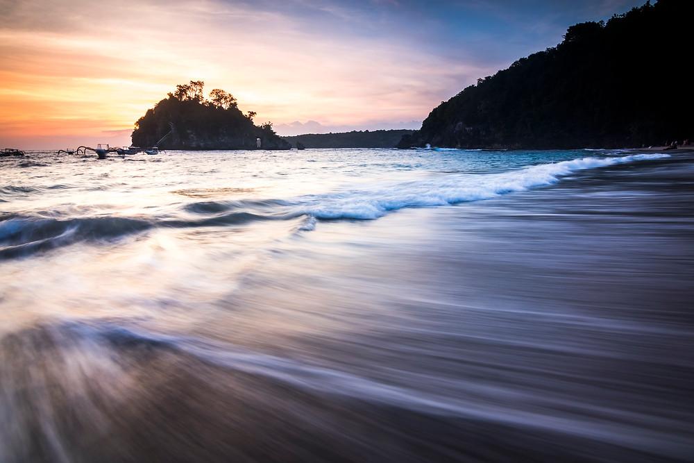 Sunset At Crystal Bay Beach, Nusa Penida, Bali, Indonesia