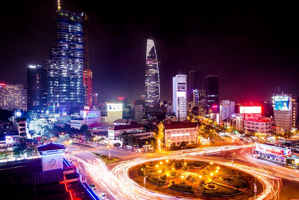Ho Chi Minh City (Saigon) Skyline, Vietnam at Night