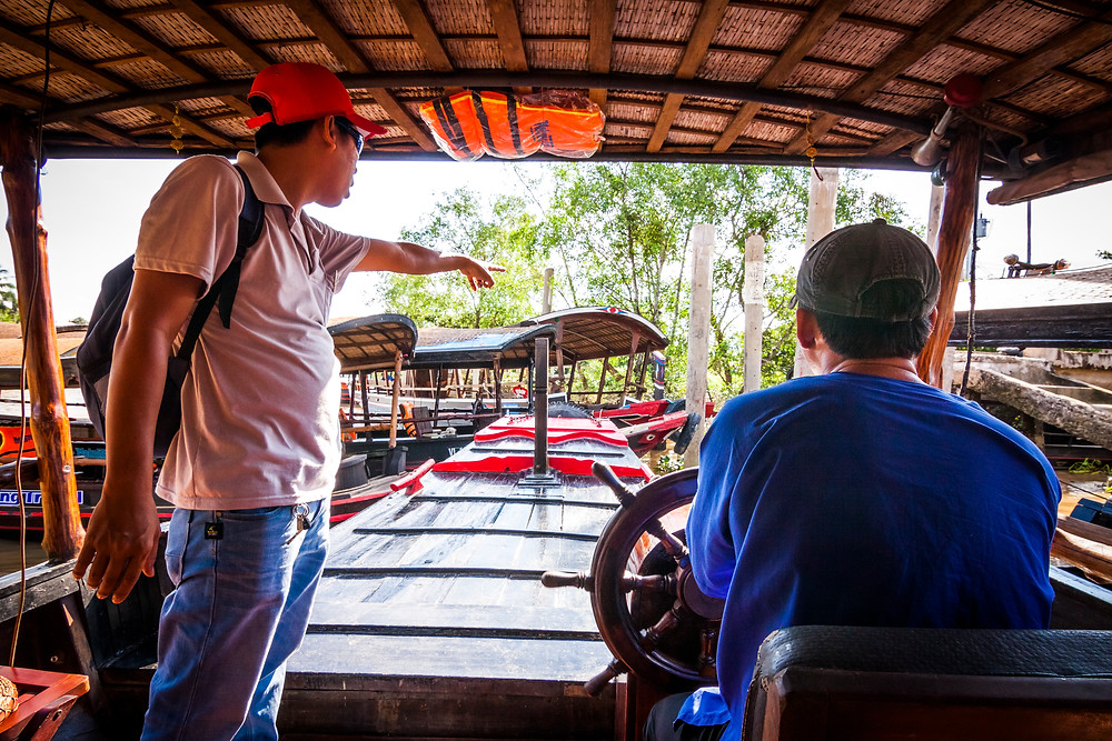 Motor Boat Exploring the Mekong Delta River, Vietnam