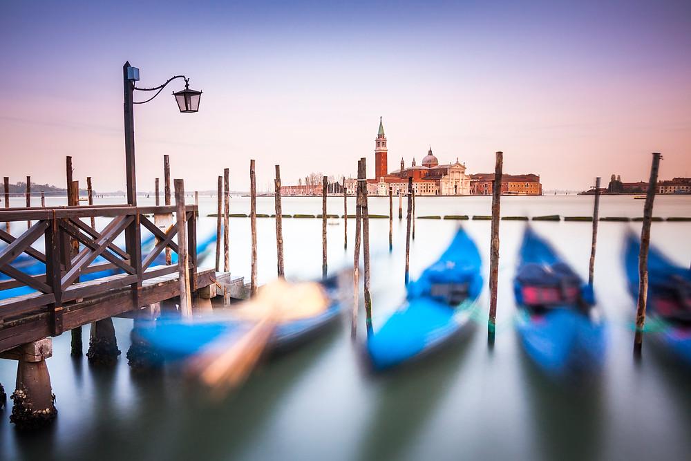 San Georgio From Gondolas at St Mark's Square, Venice, Sunset