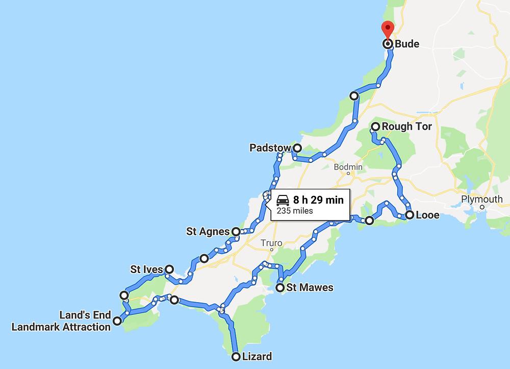 Ultimate Cornwall Road Trip 1 Week Itinerary Map