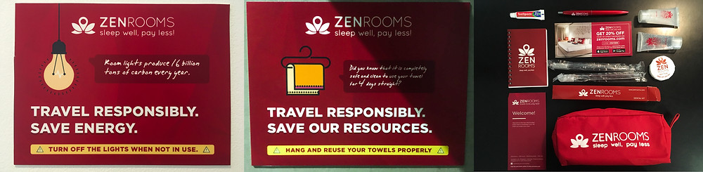 Zen Rooms Amenities Pack, Save Energy and Water Signs, Manila, Philippines