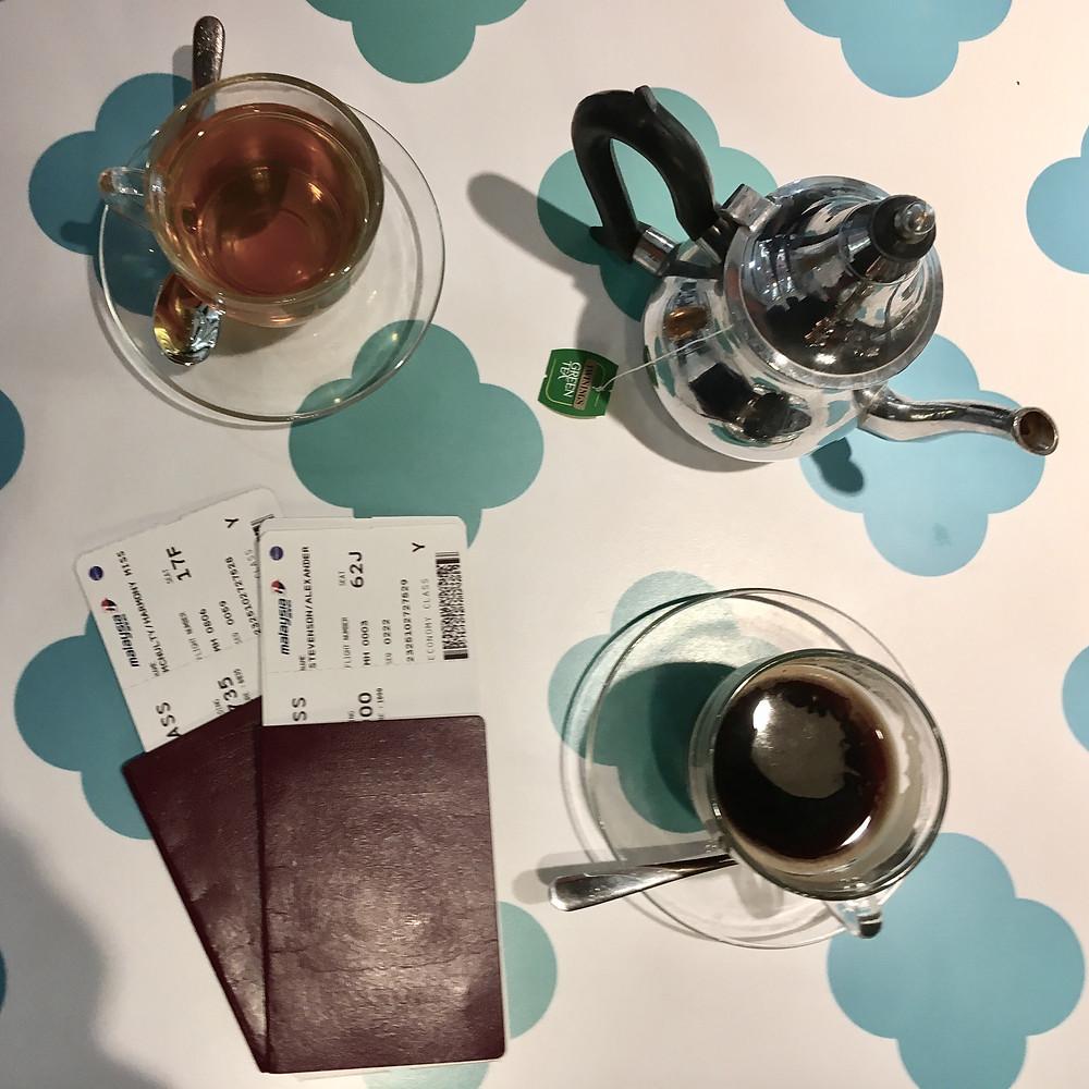 Tea, Coffee and Passport Flatlay, Heathrow Airport, London