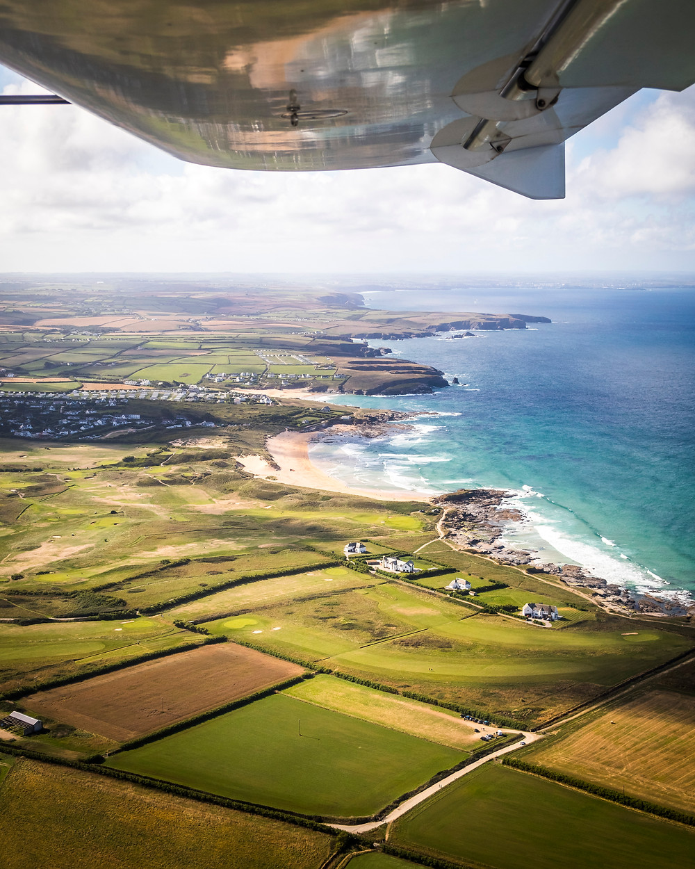 Aerial View Of Constantine and Boobys Bay, Cornwall From The Air