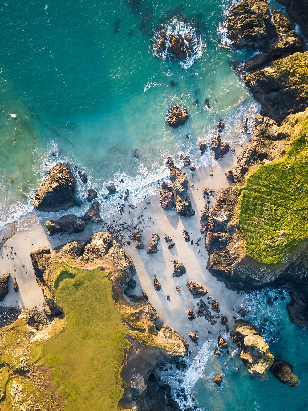 Aerial Drone Shot At Kynance Cove, The Lizard Peninsula, Cornwall, Cornwall Road Trip 1 Week 2 week Itinerary guide