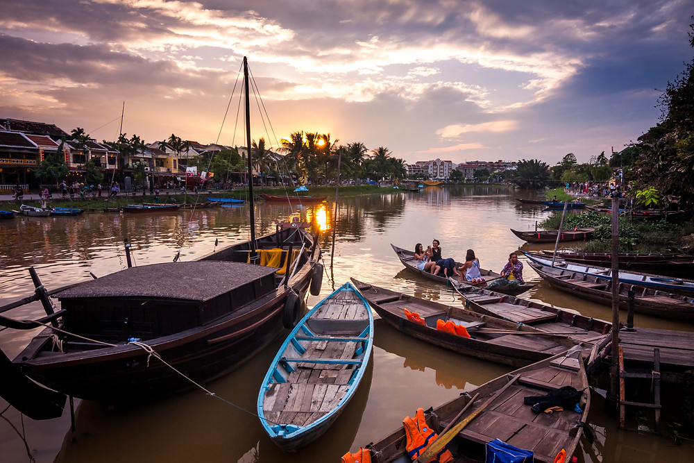 Boats on the Thu Bon River, Hoi An, Vietnam at Sunset