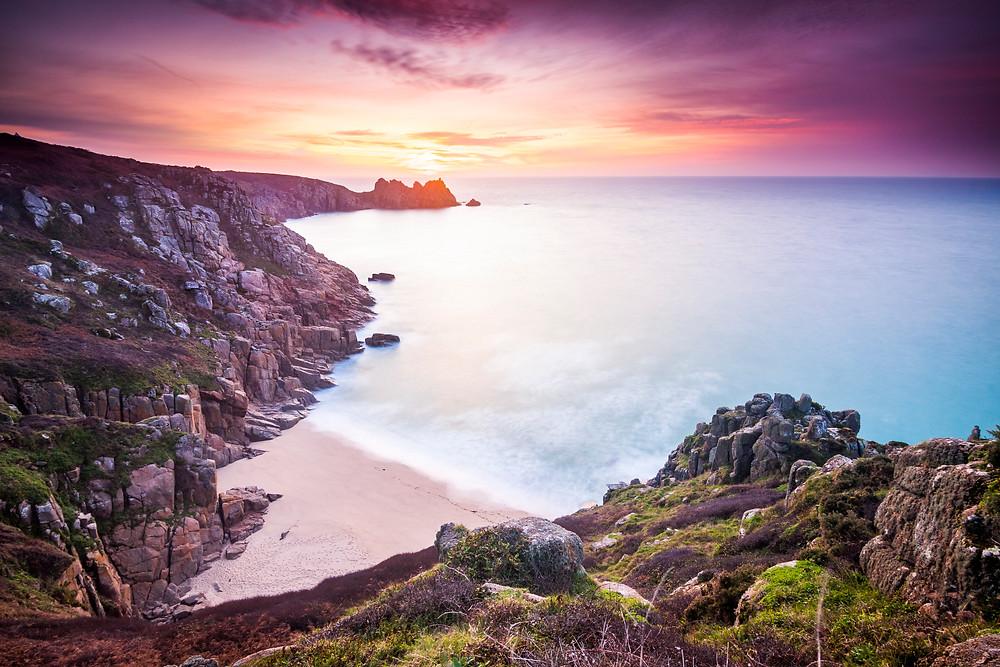 Sunrise at Pednvounder/Porthcurno Beach, Cornwall, UK