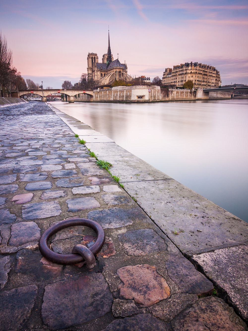 Notre Dame and River Seine at Sunrise