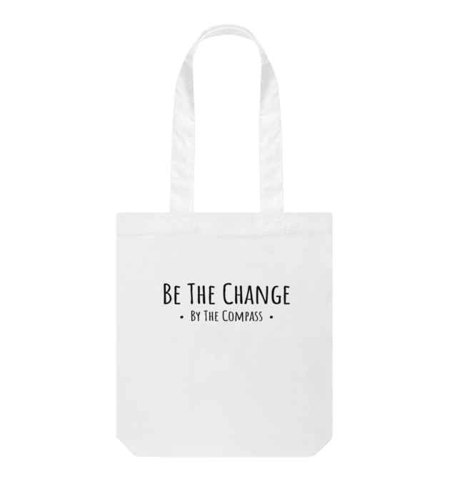 by the compass be the change organic cotton tote bag reusable eco friendly ethical sustainable