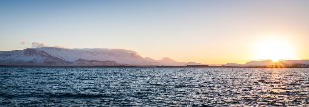 Mount Esja Panorama at Sunrise, Reykjavik, Iceland