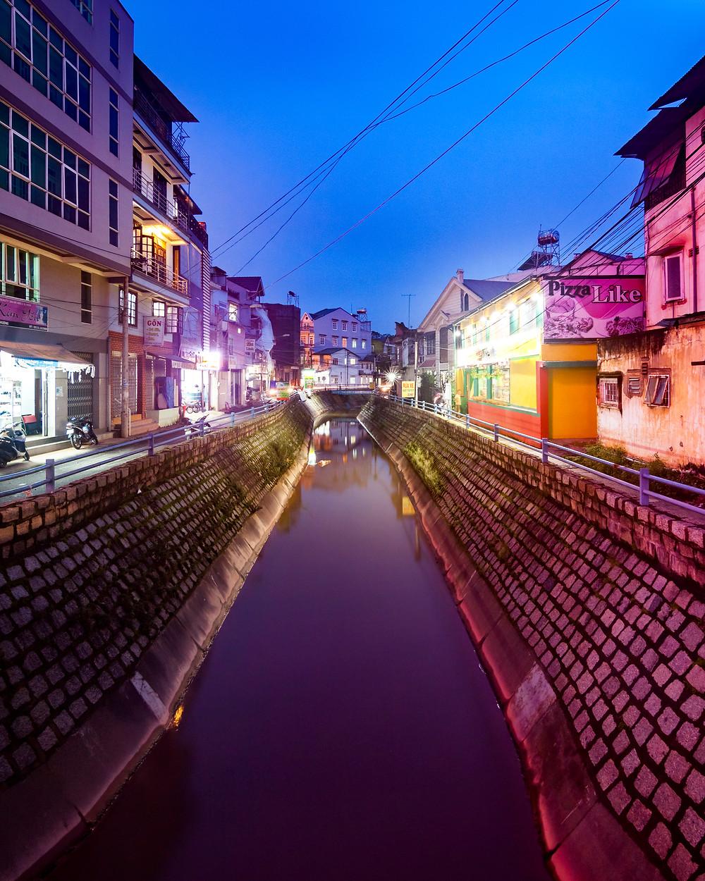 Canal/River In Da Lat, Vietnam at Night/Blue Hour