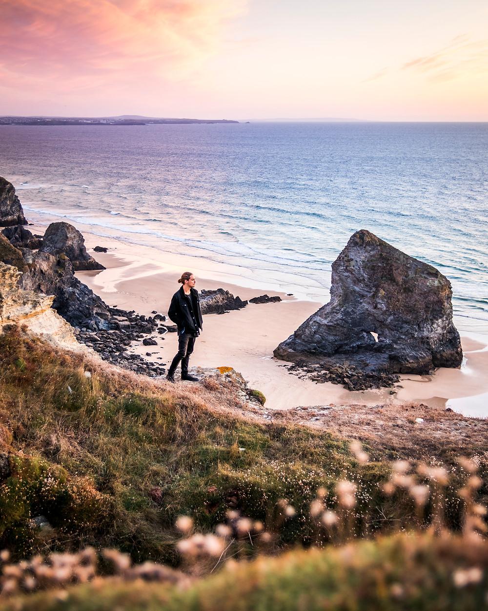 Bedruthan Steps, Cornwall, Sunset, Cornwall Road Trip 1 Week 2 week Itinerary guide