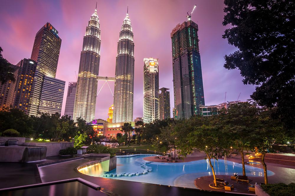 Petronas Towers and KLCC Park, Kuala Lumpur, Malaysia, Sunset