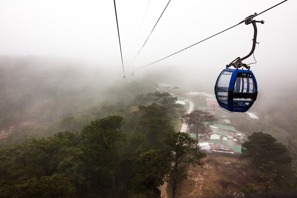 Robin Hill Cable Car In Mist, Vietnam