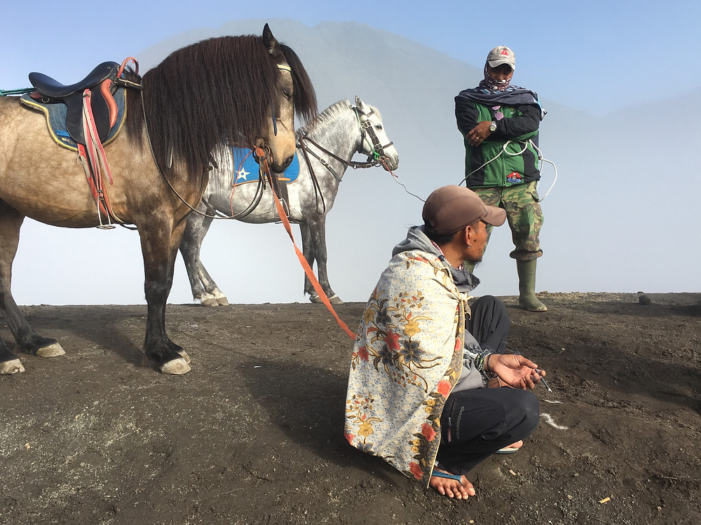 Horses and Men at Mount Bromo National Park, East Java, Indonesia