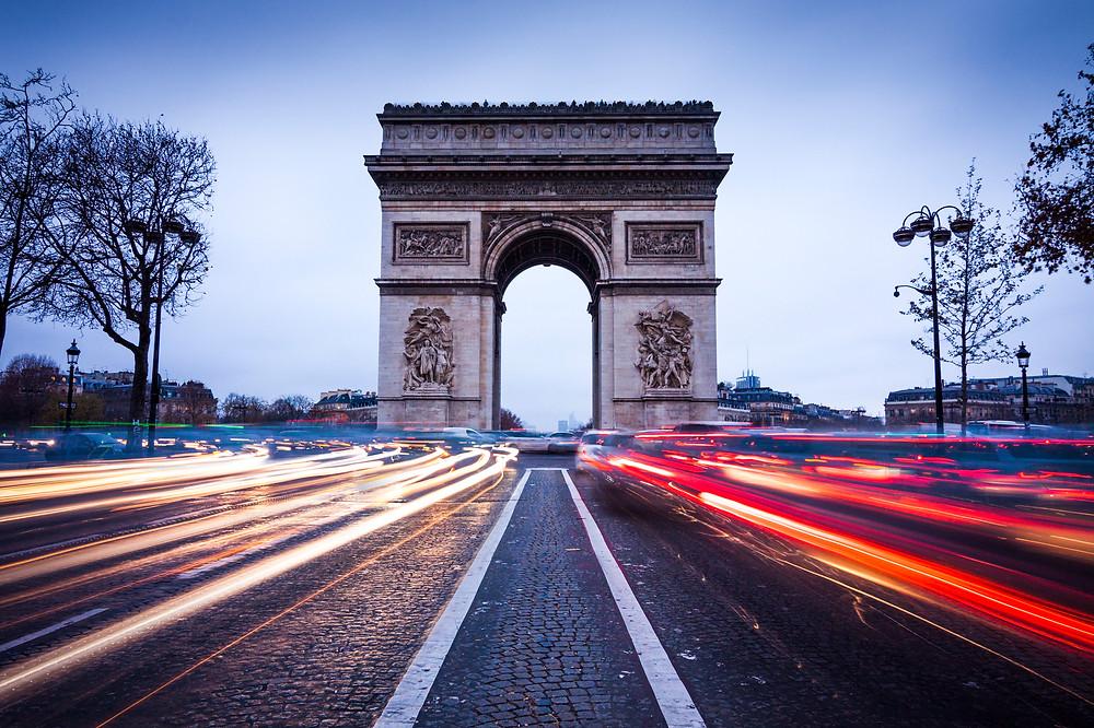 Arc De Triomphe at Dusk Twilight Blue Hour