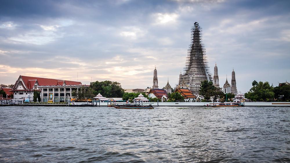 Wat Arun and the Chao Praya River, Bangkok, Thailand