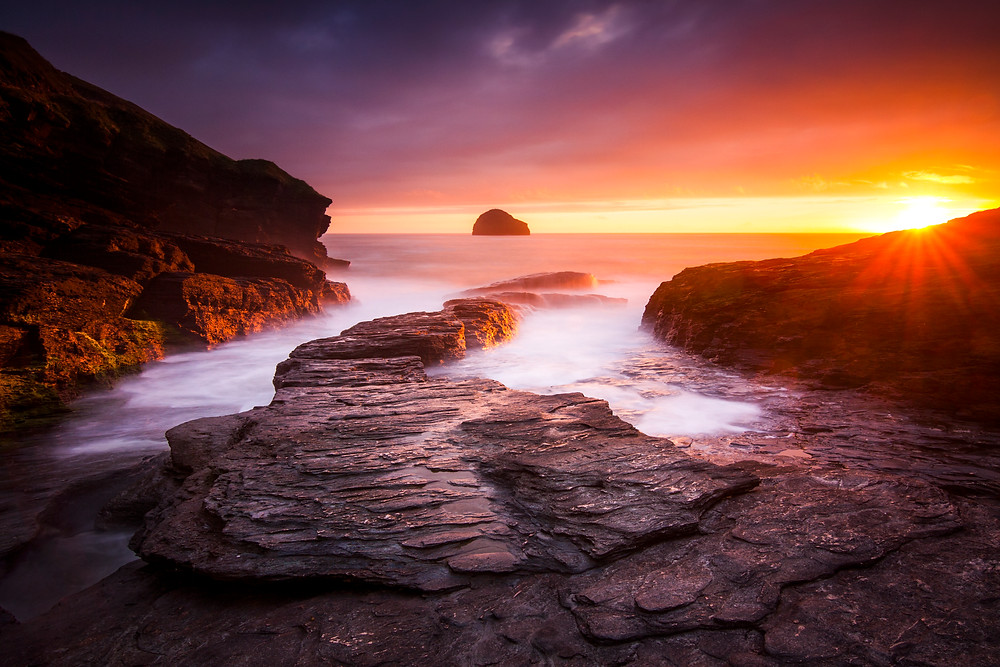 Sunset at Trebarwith Strand, Cornwall, UK best storm watching spots in cornwall
