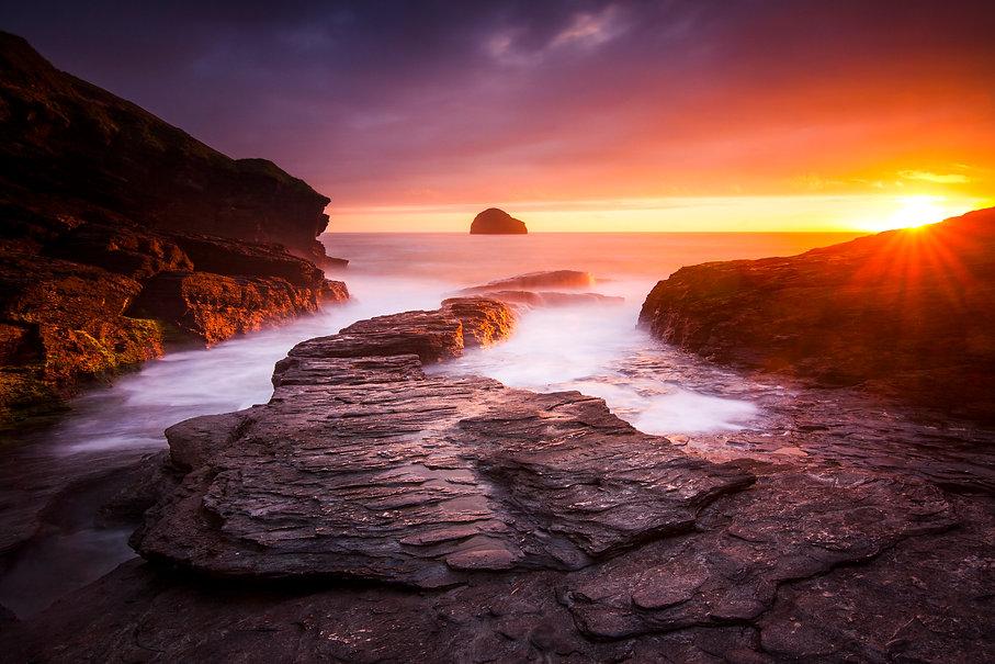 Sunset At Trebarwith Strand, Cornwall