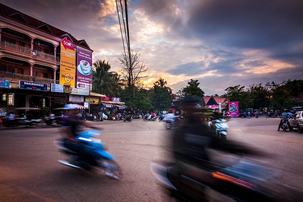 Sunset, Siem Reap Roundabout, Cambodia