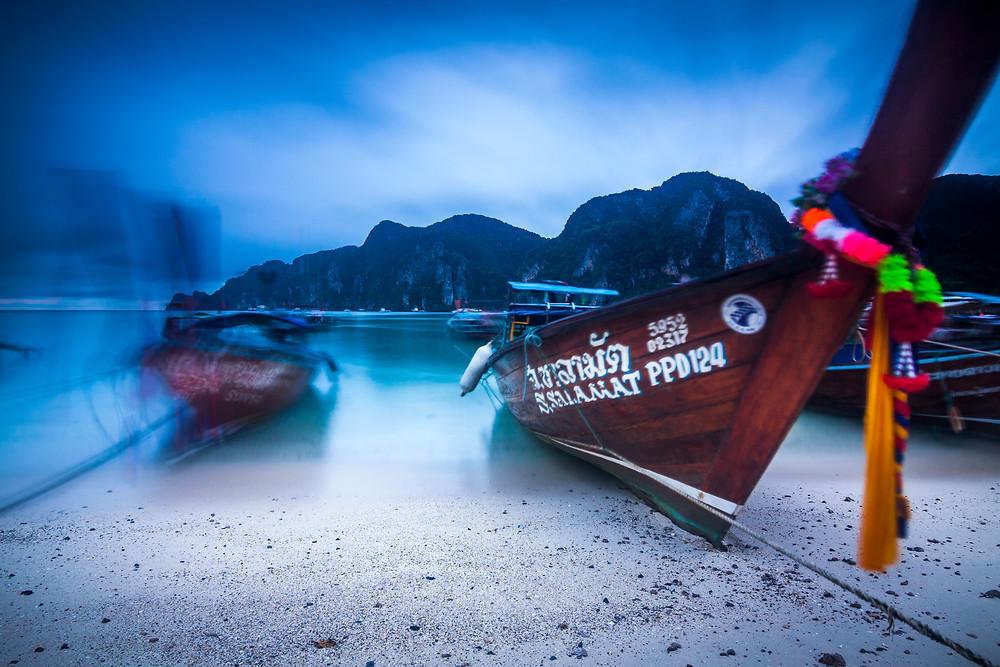 Long Tail Boats Before Sunrise, Koh Phi Phi, Thailand