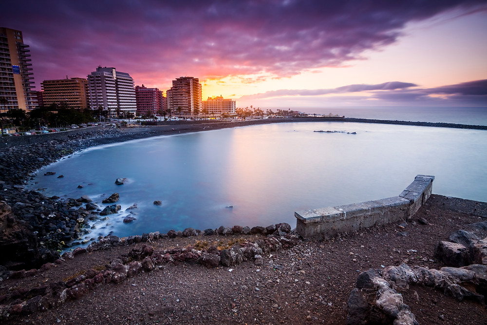 Playa Martianez, Puerto De La Cruz, Tenerife, Canaries, Spain, Sunset