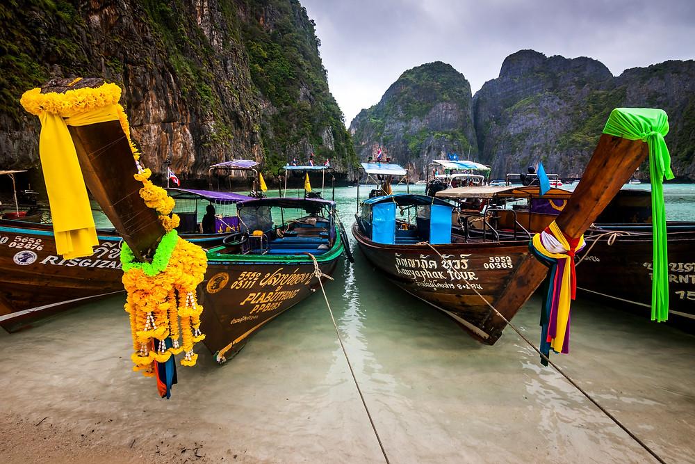 Long Tail Boats At Maya Bay In The Rain, Koh Phi Phi, Thailand