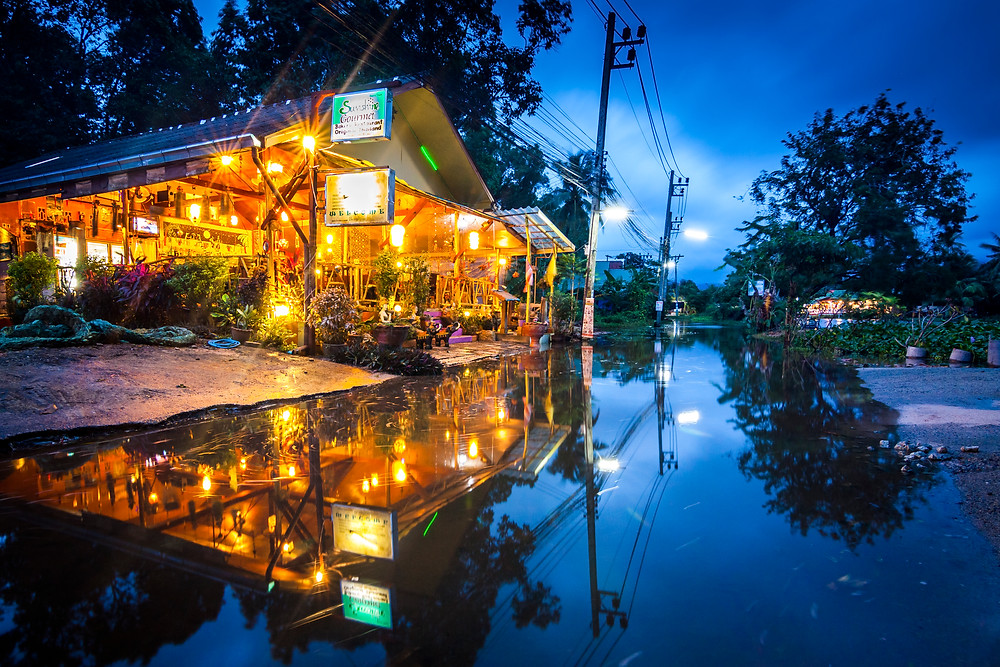 Flooding, Maenam, Koh Samui, Thailand, Night