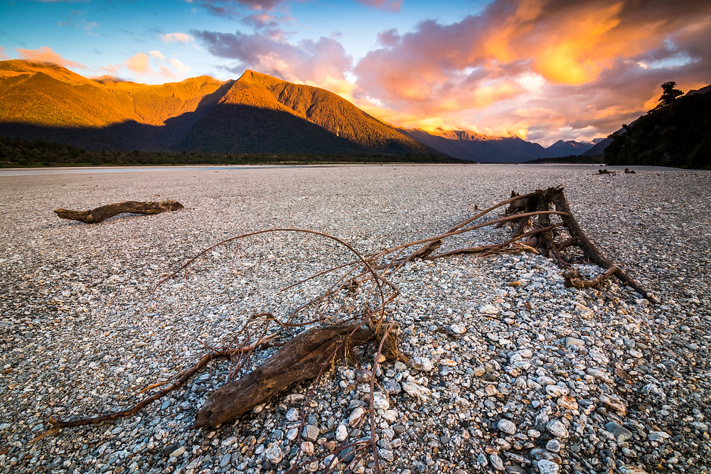 Haast Mountains At Sunset, South Island, New Zealand