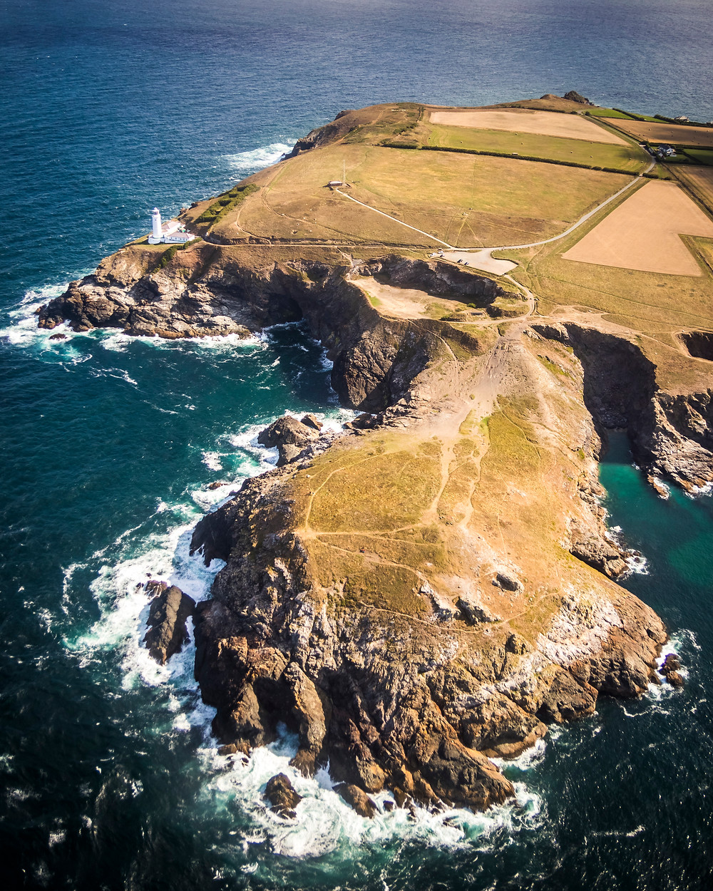 Aerial View Of Trevose Head Lighthouse, Cornwall From The Air