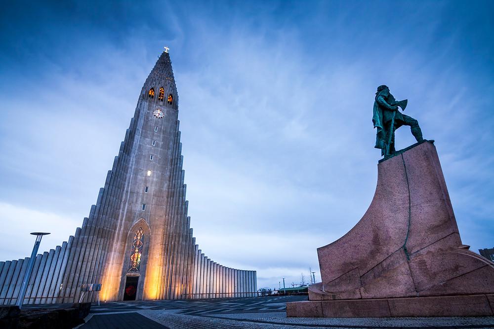 Sunrise at Hallgrimskirkja Church, Reykjavik, Iceland