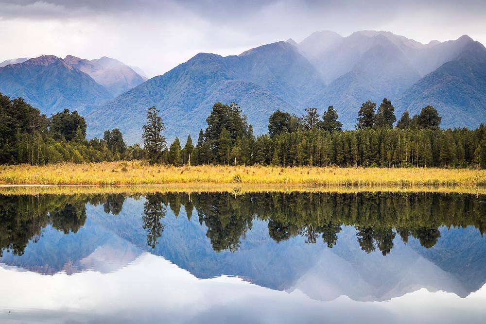 Views At Lake Matheson, South Island, New Zealand