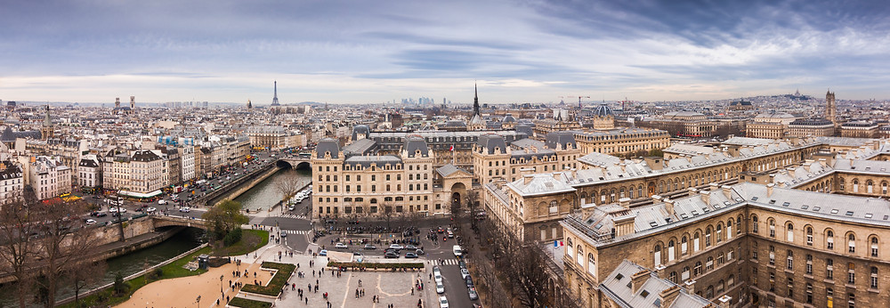 Panorama of Paris from top of Notre Dame