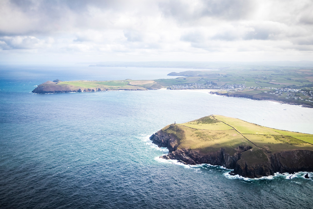 Aerial View Of Stepper Point, Polzeath and The Camel Estuary, Cornwall From The Air