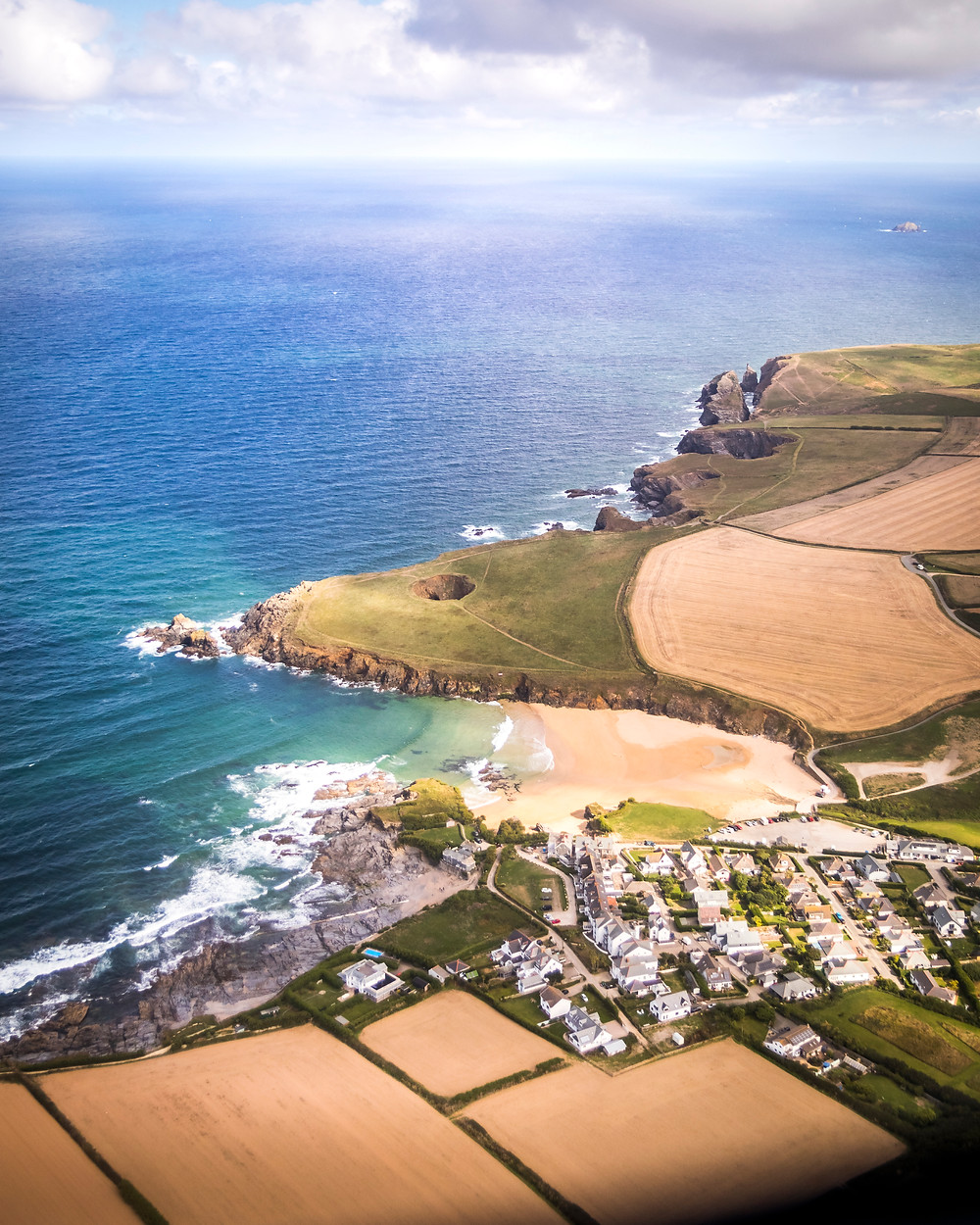 Aerial View Of Trevone Bay, Cornwall From The Air