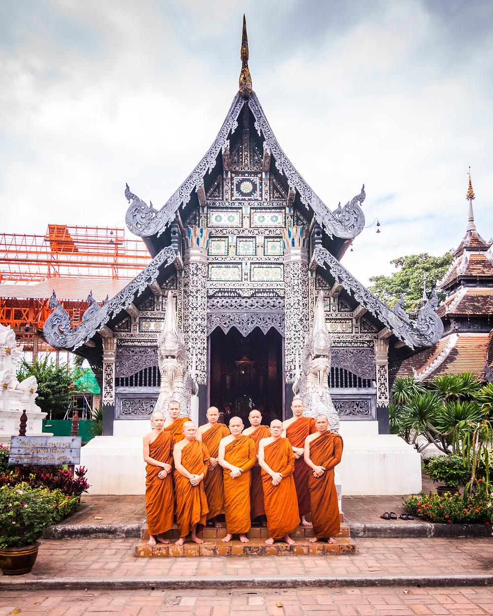 Monks at Wat Chedi Luang, Chiang Mai, Thailand