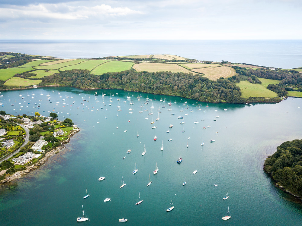 Aerial Drone Shot St Mawes, Percuil River, The Roseland Peninsula, Cornwall, Cornwall Road Trip 1 Week 2 week Itinerary guide