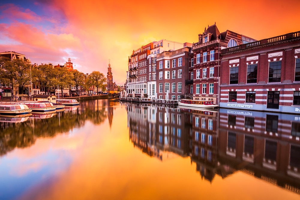Sunrise on the River Amstel, Amsterdam, Netherlands