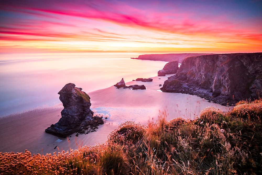 Sunset at Bedruthan Steps, Near Newquay, Cornwall, UK the best top 5 coastal walks