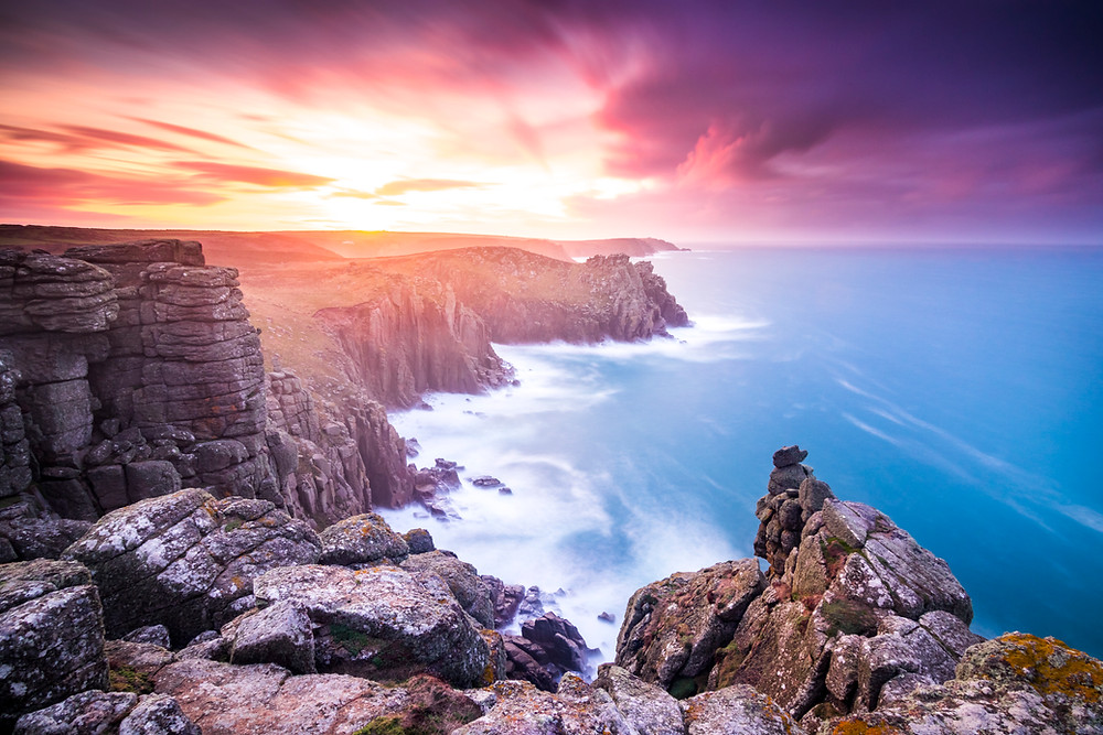 Pordennack Point, Land's End, Sunrise, North Cornwall Coast Road Trip 1 Week 2 week Itinerary, landscape photography