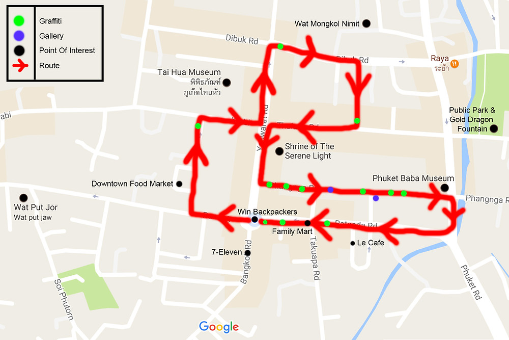 Map of Graffiti and POI in Phuket Town, Thailand