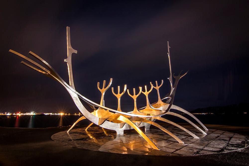 The Sun Voyager at Night, Reykjavik, Iceland
