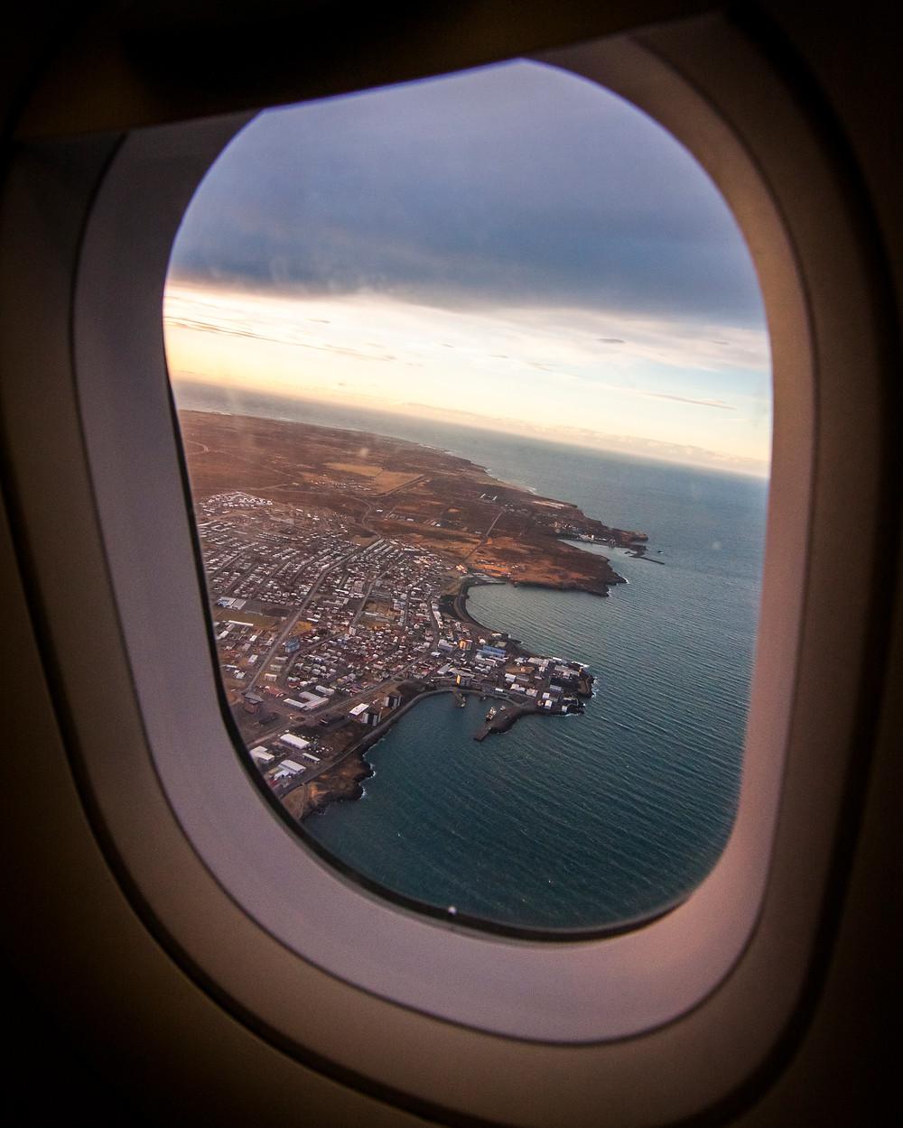 Flying Over Keflavik at Sunset