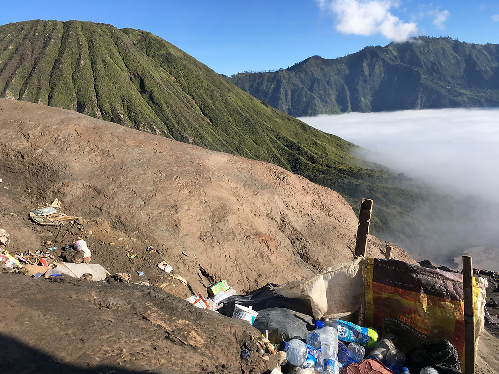 Rubbish/Litter and Plastic Pollution at Mount Bromo National Park, East Java, Indonesia