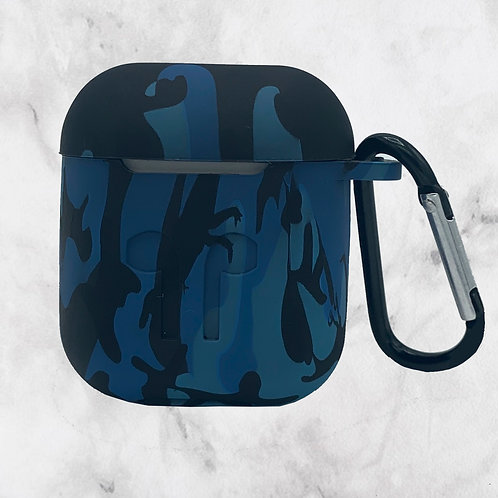 Blue Camouflage Silicone AirPods Case