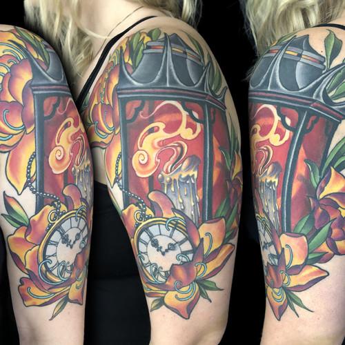 Lanter and Peony Half Sleeve Tattoo.jpg