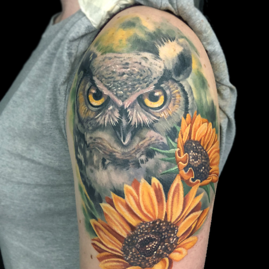 Owl and Sunflower Half Sleeve Tattoo.jpg