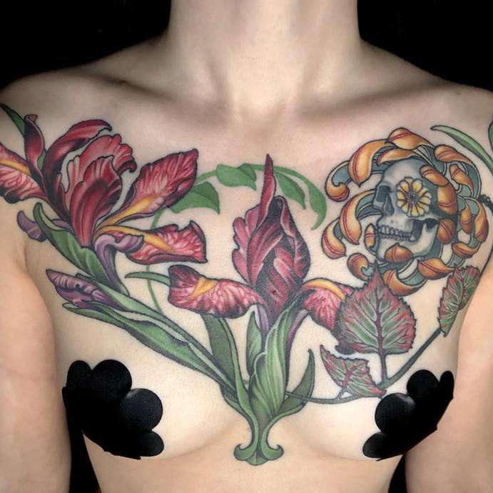 Iris and Skull Chest Piece Tattoo.jpg