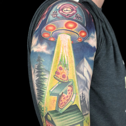 UFO Pizza Abduction Half Sleeve Tattoo.j
